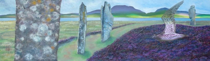 Orkney Stones and Curlew, oil and mixed media, 100cm x 30cm, SOLD