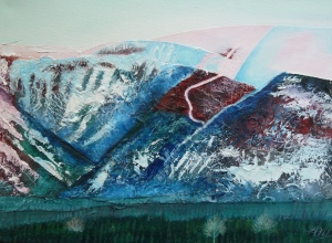 Snow Patterns - on the Cairngorm Mountains, oils on canvas 40cm x 30cm.
