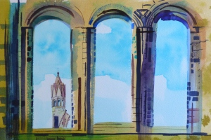 Cathedral window, St Andrews, watercolour and inks on paper, 41 x 29cm.