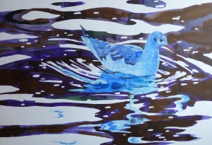 Black-headed Gull in the Harbour, watercolour and ink on paper, 58 x 41cm.
