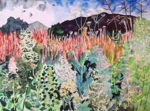 Wildflowers down at the Dell, watercolour on paper, 52 x 38cm.